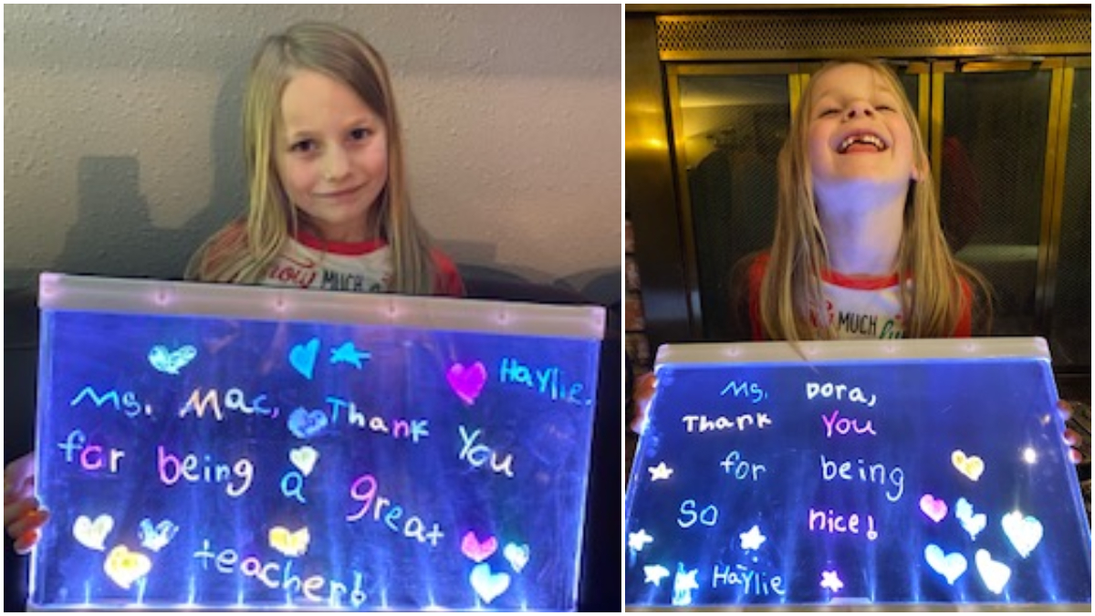 iLEAD Antelope Valley learner with thank-you sign