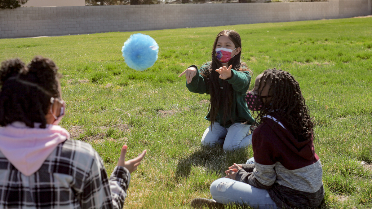 iLEAD Antelope Valley learners playing with ball
